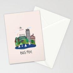 Boston city art print Stationery Cards
