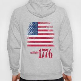 American Flag Established 1776 Vintage Print Hoody