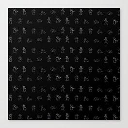 Bunnies pattern black Canvas Print