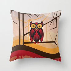 Red Owl at Dusk Throw Pillow