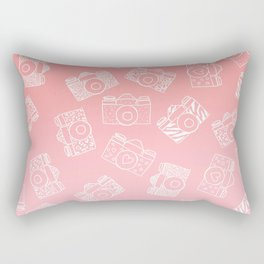 Girly modern hand drawn cameras pattern on pink blush ombre Rectangular Pillow