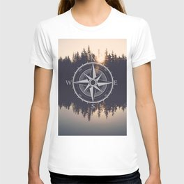 Wooded Lake Reflection Compass T-shirt