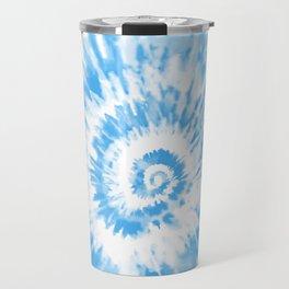 Light Ocean Blue Tie Dye Travel Mug
