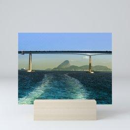 Rio de Janeiro ao fundo sobre a ponte Rio Niteroi Mini Art Print