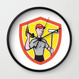 House Painter Paint Roller Handyman Cartoon Wall Clock