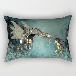 Cute fairy with steam dragon Rectangular Pillow