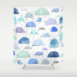 Whale party Shower Curtain