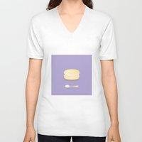 macaroon V-neck T-shirts featuring Tea time by Henry Chang