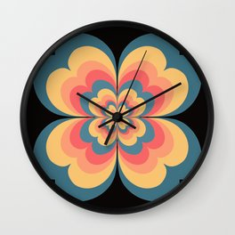 Vintage Flower Blooming On Black Flower Child Wall Clock