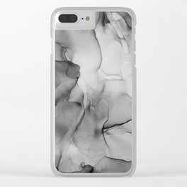 Black and White Marble Ink Abstract Painting Clear iPhone Case