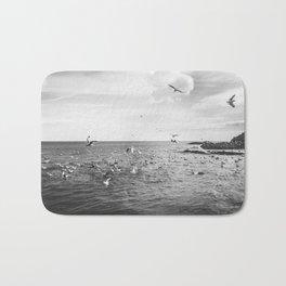 Irish bay and flying seagulls Bath Mat