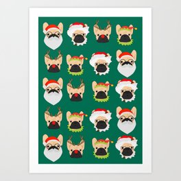 Xmas Bulldogs Art Print