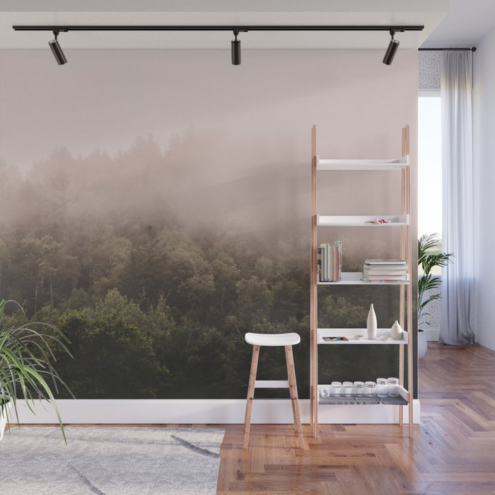 Pink Foggy Forest Landscape Photography Nature Earth Wall Mural