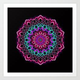 Project 208 | Colorful Mandala on Black Art Print