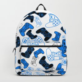Video Games Blue on White Backpack