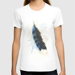 Watercolor Blue Jay Feather T-shirt