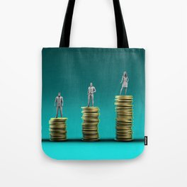 Finance Wealth Increase with Business People Standing on Chart of Gold Coins Tote Bag