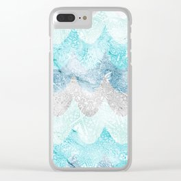 Light Aquamarine Mermaid Scales Waves Pattern Clear iPhone Case