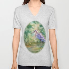 """Solitude"" - Pastel of Great Blue Heron Unisex V-Neck"