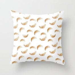 Pattern design with croissants Throw Pillow