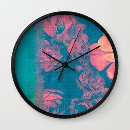 Rose Garden Blue 4- Texture Rose Study in red turquoise scarlet indigo watercolor wash Wall Clock