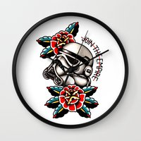 trooper Wall Clocks featuring Trooper by dcyoungtattooer