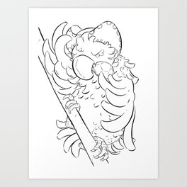 Pirate Parrot - ink Art Print