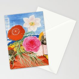 Red Poppies, Calla Lilies, Peonies & NYC Family Portrait by Florine Stettheimer Stationery Cards