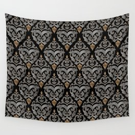 Persian Oriental Pattern - Watercolor black and gold Wall Tapestry