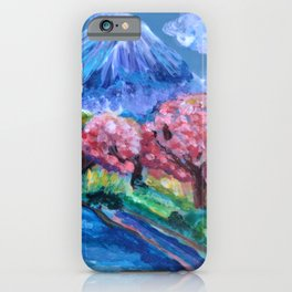 Japanese Cherry Blossom Mountain  iPhone Case