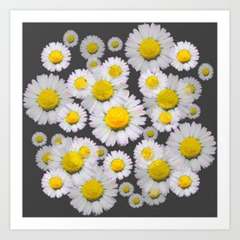 CHARCOAL GREY GARDEN OF SHASTA DAISY FLOWERS Art Print