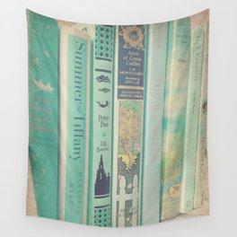 Aqua Mint Books Wall Tapestry