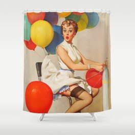 Vintage Pin Up Girl and Colorful Balloons Shower Curtain