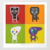 xbox Art Prints featuring controllers ~ nintendo, turbografx, gamecube, and xbox by datamouth