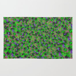 Abstract sewn flowers Rug