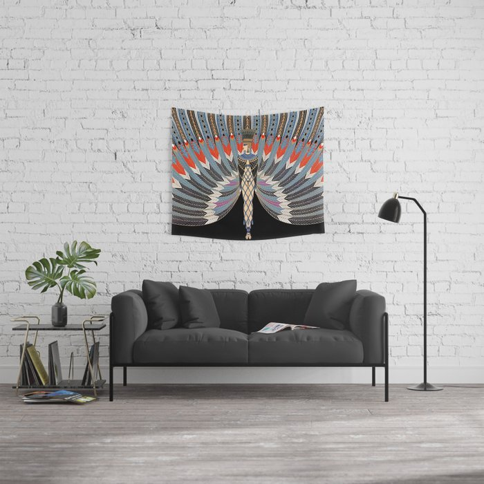 """Art Deco Design """"The Nile"""" by Erté Wall Tapestry"""