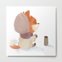 Winter Fox Drink Metal Print