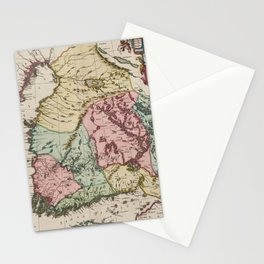 Vintage Map of Finland (1665) Stationery Cards