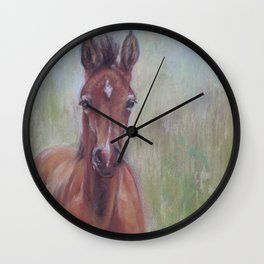 Baby Horse, Foal in the spring meadow, Cute Horse portrait Pastel drawing Wall Clock