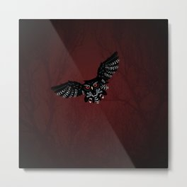 Flying Black owl Metal Print
