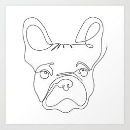 One line illustration of minimalistic french bulldog in black and white Art Print
