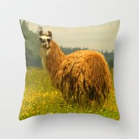llama Throw Pillows featuring Llama by Nature In Art...