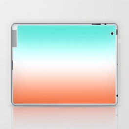 Turquoise White and Coral Ombre Laptop & iPad Skin
