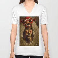 princess mononoke V-neck T-shirts featuring Mononoke by Debono Art