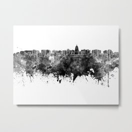 Madison skyline in black watercolor on white background Metal Print