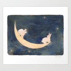 Swinging on the moon Art Print