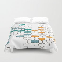 mid-century space love totems Duvet Cover