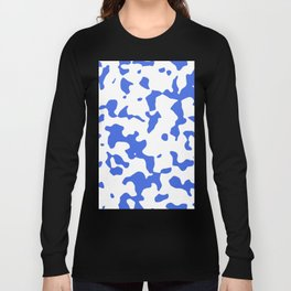 Large Spots - White and Royal Blue Long Sleeve T-shirt