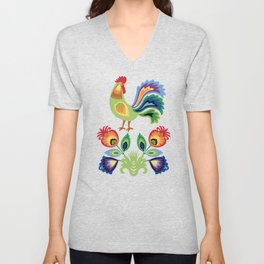 Polish Rooster and flowers Unisex V-Neck