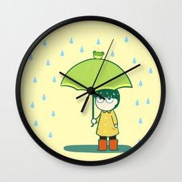 Frog Umbrella Wall Clock